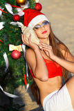 Santa's helper at the tropical beach Stock Image
