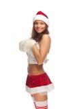 Santa`s  helper. Young positive girl dressed as Santa`s helper Stock Photography