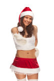 Santa`s helper. Young positive girl dressed as Santa`s helper stock images