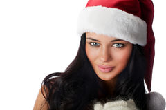 Santa`s helper. Young positive girl dressed as Santa`s helper royalty free stock photos