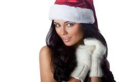 Santa`s helper. Young positive girl dressed as Santa`s helper Stock Image