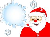 Santa's Idea. Cartoon drawing of enthusiastic Santa Claus saying or singing his ideas Stock Photo