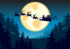 Santa's Journey. Santa flying past the moon in this  illustration Royalty Free Stock Photography