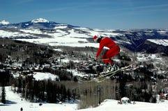 Santa's landing in town Stock Photo