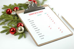 Santa's List. Of who's naughty and who's nice Stock Photo
