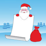 Santa's List. Santa Claus holding a sheet of blank white paper with space to add Royalty Free Stock Photo