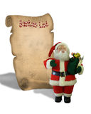 Santa's List On Old Parchment scroll Royalty Free Stock Image