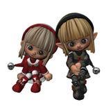 Santa's Little Helpers - 2. Digital render of two little Christmas elves vector illustration