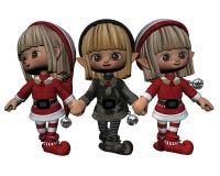 Santa's Little Helpers - 3. Digital render of three little Christmas elves royalty free illustration