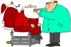 Santa's Medical Exam. This illustration depicts Santa Claus being checked by a doctor Stock Photo