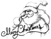 Santa's message b&w royalty free illustration