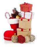 Santa ` s but na białym tle Fotografia Royalty Free