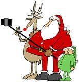 Santa's new selfie stick Stock Photography