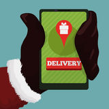 Santa's Phone in his Hand with Delivery App, Vector Illustration stock photo