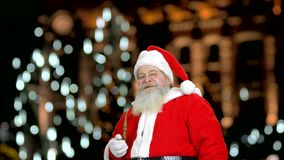 Santa`s recommending you to smoke the pipe. stock footage
