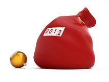 Santa's red bag. On a white background Royalty Free Stock Images
