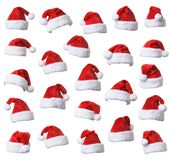 Santa`s red hat set stock photos