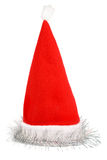 Santa's red hat with silver tinsel Stock Photos