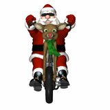 Santa's Reindeer Concept Chopper. Santa looking cool with a bit of an attitude on his reindeer concept chopper.  Antler handlebars, red nose headlight, and Stock Photos
