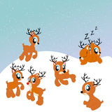 Santa's reindeer cute illustration. With all seven reindeers Stock Photos