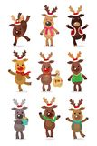 Santa s Reindeer Set. Vector illustrations of reindeer isolated on white background Royalty Free Stock Photos