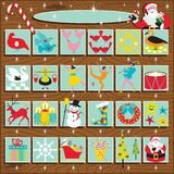 Santa's Retro Advent Calendar. On a woodgrain background. Includes the 12 days of Christmas vector illustration