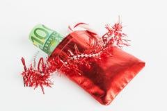 Santa's sack, Euro notes Royalty Free Stock Photos