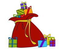 Santa S Sack Of Christmas Gifts Royalty Free Stock Images