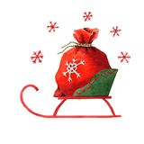 Santa`s sack in a sleigh Royalty Free Stock Image