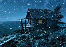 Santa`s secret cottage in first snowfall. Santa Claus secret cottage on Lapland fell top in first winter cold and snowfall stock photo