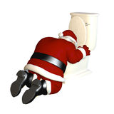Santa's sick from too much eggnog. Santa partied a bit too hard and is sick in front of a toilet.  Bah Humbug Royalty Free Stock Photos