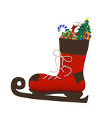 Santa's skate boot Royalty Free Stock Image
