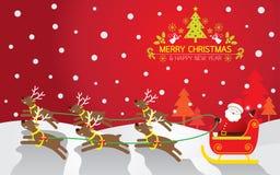 Santa& x27; s-släde, ren, bakgrund Royaltyfri Illustrationer