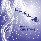 Santa`s sleigh. Illustration of santa`s sleigh on an abstract stars background Royalty Free Stock Photo
