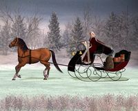 Santa's Sleigh. Digital render of a traditional Father Christmas in a horse drawn sleigh Stock Image