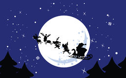 Santa`s sleigh. Vector illustration of santa`s sleigh on the sky Royalty Free Stock Photography