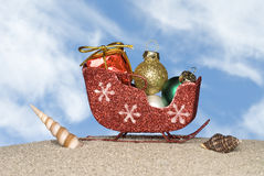 Santa's sleigh on the beach Stock Photography