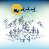 Santa`s sleigh on Christmas night. Flying over the mountains and forest Royalty Free Stock Photos