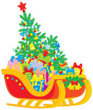 Santa's sleigh stock illustration