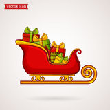 Santa`s sleigh. Christmas vector icon. Santa`s sleigh with gift boxes. Christmas traditional symbol. Vector icon Stock Images