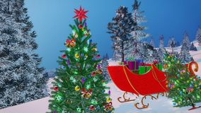 Santa`s sleigh and decorated Christmas tree Royalty Free Stock Images
