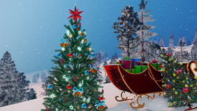 Santa`s sleigh and decorated Christmas tree 4K. Close up of Santa`s sleigh full of gifts and outdoors decorated Christmas trees among snow covered firs at stock footage