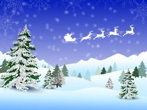 Santa's sleigh flying over the town and snow land Royalty Free Stock Image