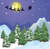Santa s sleigh on Moon background Royalty Free Stock Images