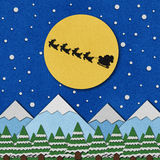 Santa's Sleigh recycled papercraft Royalty Free Stock Images