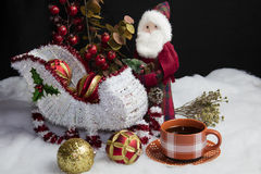Santa's Sleigh Setting for Christmas and Coffee Stock Photos
