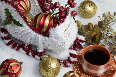 Santa's Sleigh Setting for Christmas and Coffee Royalty Free Stock Images