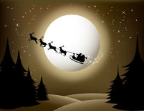 Santa sleigh and reindeer. Illustration of Santa sleigh and reindeer flying in front of full moon over wintry forest with starry background, sepia color Stock Photos