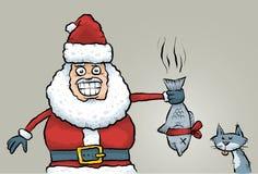 Santa's Stinky Fish Gift. Cartoon Santa Claus rewards a good cat with a stinky fish gift Stock Photo