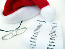 Santa's Stuff 2. Santa's hat, list and glasses stock images